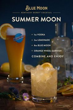 Blue Moon is the official craft beer sponsor of the Kentucky Derby®. For your Derby party, try maki Blue Moon Drinks, Blue Moon Cocktail, Blue Moon Beer, Alcohol Drink Recipes, Beer Recipes, Mixed Drinks Alcohol, Coffee Recipes, Bar Drinks, Cocktail Drinks