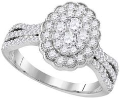 10kt White Gold Womens Round Diamond Oval Flower Cluster Ring 1.00 Cttw   Bridal Rings   Wedding Rings   Ring of the day   Engagement   Best Ring   Jewelry   Ring Jewelry   14k Gold Rings   Latest Jewelry Trends   Fashion Trends   Fashion trends for teens   New Jewelry Rings   Rings Porn   Gold Rings   Silver Rings   Teens Jewelry   Ideal Jewelry   Dream Jewelry   Love Jewelry   Fancy Jewelry   Gift   Jewelry Gift   Jewelry Porn   Wedding Gift