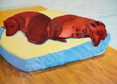 David Hockney: Dog Paintings, Salt Mill was sold by Bonhams, Los Angeles, on Sunday, February David Hockney Ipad, David Hockney Paintings, Arte Dachshund, Pop Art Movement, Metropolitan Opera, Dog Paintings, Contemporary Paintings, Exhibition Poster, Animal Projects