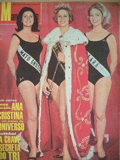 MANCHETE, 09 de julho de 1966 /// Ana Cristina Ridzi, Miss Guanabara, Miss Brasil 1966, representante do país no Miss Universo, ladeada por Marluce Rocha Manvailler (Miss Mato Grosso, segunda colocada, quarto lugar no Miss Mundo) e Francy Carneiro Nogueira, Miss Ceará, nossa Miss Brasil no Miss Beleza Internacional. /// Detalhe: Em 1966 não houve o Miss Beleza Internacional e Francy Carneiro renunciou ao título para casar. Foi substituída por Virgínia Barbosa de Souza, Miss Minas Gerais…