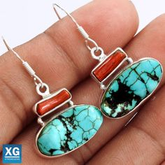 Lucky-Charm-Tibetan-Turquoise-925-Sterling-Silver-Earrings-Jewelry-SE48460