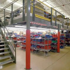 Creating more warehouse storage space with a mezzanine.