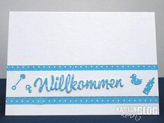 blog.karten-kunst.de - Willkommen neuer Erdenbürger. Karten-Kunst Stanzschablone – Große Texte Willkommen, Memory Box Stanzschablone – Baby Stuff