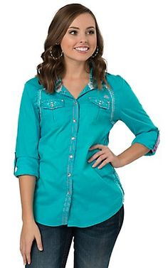 Roar Women's Teal Brilliant Embroidered Long to 3/4 Sleeve Western Shirt