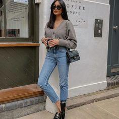 Hannah   COCOBEAUTEA (@cocobeautea) • Photos et vidéos Instagram Jeans Outfit Winter, Mom Jeans Outfit, Fall Winter Outfits, Summer Outfits, Jean Outfits, Casual Outfits, Cold Day Outfits, Yves Saint Laurent, Boyish Style
