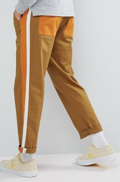 On my wishlist : ASOS DESIGN Skater Cropped Trousers In Tan With Double Side Stripe & Elasticated Waist from ASOS #ad #men #fashion #shopping #outfit #inspiration #style #streetstyle #fall #winter #spring #summer #clothes #accessories