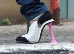 cool high heels. looks like they stepped in gum.