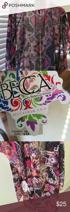 Becca swim cover up Beautiful print becca swim cover up-open front. Size M/L BECCA Swim Coverups