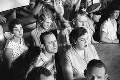 July 4, 1956  - Barbara Hearn, Minnie Mae, Uncle Travis Smith, Gladys, Vernon watch Elvis' concert at Russwood Park, Memphis.