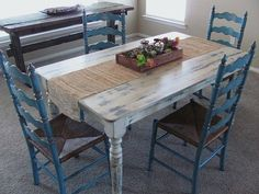 Upcycled Farm House Table with Shabby Chic finish