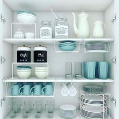 cabinet organization Cluttered and disorganized, kitchen cabinets can become a place of complete mayhem. With plates, bowls, and mugs strewn about, it's hard to keep anything wher Kitchen Organization Pantry, Home Organisation, Diy Kitchen Storage, Kitchen Decor, Organized Kitchen, Smart Kitchen, Organised Home, Storage Organization, Organization Ideas For The Home