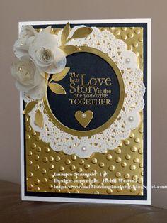 Wedding card, Stampin' Up!, Gold foil, Lace doily, Creped Filter paper, Spiral flower originals die, Decorative Dots embossing folder, blog hop at http://heidistampinalong.blogspot.ca/2014/01/the-wacky-watercooler-welcome-2014-blog.html