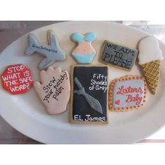 Fifty Shades of Grey cookies that someone made.....cute book party idea.