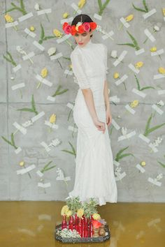 Spanish style wedding dress | Warmphoto | see more on: http://burnettsboards.com/2014/05/frida-kahlo-styled-shoot/