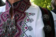 """Beltestakk"", bunad from Telemark. Linen shirt with cross stitch embroidery. Sliver buttons and brooch. Taken downtown Oslo on May (Constitution Day) Folk Costume, Costumes, Constitution Day, Going Out Of Business, Steampunk Costume, World Cultures, Traditional Outfits, Cross Stitch Embroidery, Norway"