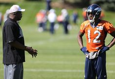 """Thursday Practice,Receiver Andre Caldwell """"picking Rod Smith's brain"""". Getting ready for the Eagles"""