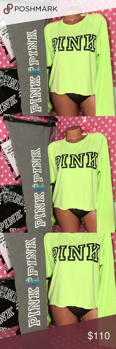 VS Pink Gym Pant sweatshirt set Victoria secret pink two-piece set gray gym pants jogger with neon hombre graphics matching VS pink neon green crop sweatshirt lightweight  new in package purchased online from Victoria's Secret sweatpants are new with tags smoke free home PINK Victoria's Secret Pants Track Pants & Joggers