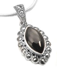 wow.     Sterling Silver Marcasite and Black ONYX Flower Pendant  $39.98