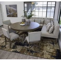 Dining height table with corner bench seating, Table extends from 60 Banquette Seating In Kitchen, Dining Room Bench Seating, Kitchen Benches, Dining Table In Kitchen, Corner Bench Dining Table, Round Dining Room Sets, Corner Kitchen Tables, Ikea Dining Room, Dining Room Furniture Sets