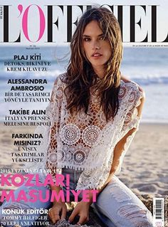 Alessandra Ambrosio graces the June 2015 cover of L'Officiel Turkey. She´s wearing an Ale by Alessandra White Sands Lace Crop Top, Baublebar jewelry and RE/DONE jeans. #alessandraambrosio #style