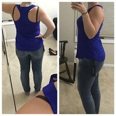 First Stitch Fix April 2016: Alaskey Woven Trim Swing knit tank top from blue skies XS (need a racerback!), jeans from Mavi - Angie Skinny Jean Size 26, perfectly cropped/cuffed for my height! Love the stretch. Love it all! Stitchfix.com/referral/7582058