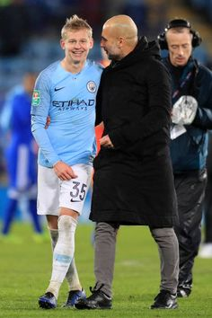 Oleksandr Zinchenko of Manchester City speaks to Josep Guardiola, Manager of Manchester City after the Carabao Cup Quarter Final match between Leicester City and Manchester City at The King Power. Ukraine Football, Zen, King Power, Pep Guardiola, Manchester City, Denim Fashion, Premier League, Passion, My Style