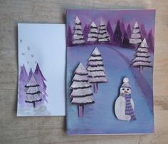"""Carte """"neige fond mauve"""" , collage et peinture. Avec enveloppe assortie."""