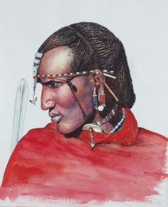 African Artwork by Margrit, Maasai Warrior, Kenya