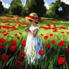 .girl in poppy field