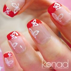nice Beautiful and Stunning Red Nail Designs Red and Pink Colors of Flower Concept red nail art designs – Nail Design Arts French Nails, French Manicure Nails, Red Nails, Love Nails, Pretty Nails, Manicure Ideas, Pastel Nails, Bling Nails, Cute Nail Art Designs