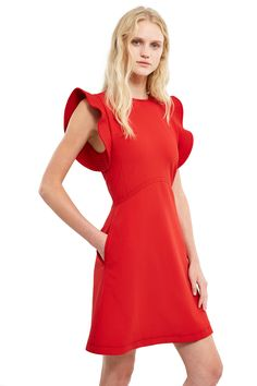 Opening Ceremony, William Circle-Sleeve Dress , Ruffled sleeves, Round neck, Side pockets, Hidden back zipper and hook-and-eye closure, Contrast top stitching, Mini, 71% nylon, 21% cotton, 8% elastane; 95% polyester, 5% polyurethane, Imported