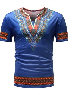 b841f893ab933 Ericdress Dashiki African Printed Slim Mens Short Sleeve T Shirt