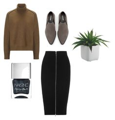 #Cozy by rhonaaxo on Polyvore featuring Vanessa Bruno Athé, T By Alexander Wang, Zara and Nails Inc.