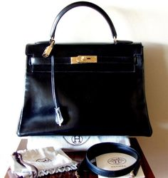 e163698f0a4 AUTH HERMES KELLY 32 Handbag Purse + Strap Classic Black Box Leather VTG  MPRS  HERMES
