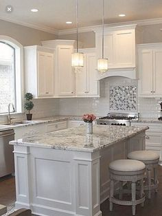 Supreme Kitchen Remodeling Choosing Your New Kitchen Countertops Ideas. Mind Blowing Kitchen Remodeling Choosing Your New Kitchen Countertops Ideas. Grey Kitchen Cabinets, Kitchen Cabinet Design, Kitchen Redo, Kitchen Tiles, Home Decor Kitchen, Kitchen Countertops, White Kitchen With Granite, Grey Granite Countertops, Granite Counter Tops Kitchen