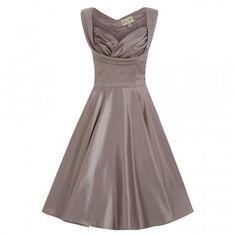 'Ophelia' Mink Grey Satin Swing Dress