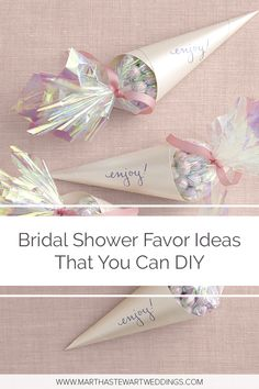 Bridal Shower Favor Ideas That You Can DIY Give the ladies who attended your bridal party take-home treats made with tender-loving care. Bridal Shower Favors Diy, Bridal Shower Party, Bridal Shower Rustic, Bridal Shower Decorations, Bridal Showers, Bridal Shower Treats, Creative Wedding Favors, Inexpensive Wedding Favors, Wedding Gifts For Guests