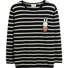 Miffy Stripe Badge Navy Cashmere Sweater ($455) ❤ liked on Polyvore featuring tops, sweaters, bunny sweater, wool cashmere sweater, navy blue sweater, stripe top and navy blue tops