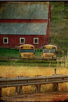 Like home, the farmer drives the school bus or the school buses stay here overnight.