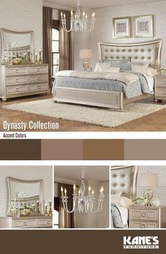 Meet the Dynasty bedroom set where elegance and glamour have combined with beautiful detailed molding. Live royally by complimenting the champagne finish with muted nudes, browns, and whites. Bedroom Sets For Sale, King Bedroom Sets, Queen Bedroom, Blue Bedroom Decor, Glam Bedroom, Bedroom Ideas, Mirror Bedroom, Bedroom Bed, Master Bedrooms