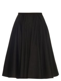 This black cotton-blend poplin midi skirt is an easy way to tap Rochas's ultra-feminine aesthetic. It's cut to a high-waisted, A-line silhouette, and secures with an exposed gold-tone metal zip along the back. Pin-thin heels will look classically chic, but try it with jewel-encrusted flats for a new-season twist.