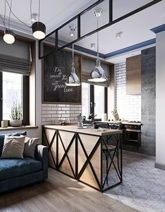 Kitchen Room Design, Home Room Design, Modern Kitchen Design, Home Decor Kitchen, Industrial Interior Design, Industrial House, Home Interior Design, Loft Design, Küchen Design