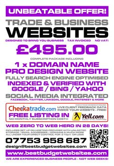 Best Budget Websites and Website Templates at SparkleDESIGN. Get a full website and SEO deal for just £495.00 - web zero to web hero in just 28 days (or less), social media sharing,  Checkatrade feedback integration for trades, FREE Yell.com listing, and much much more. DIY website templates also available from £36.00  CLICK for stand-out websites at budget prices