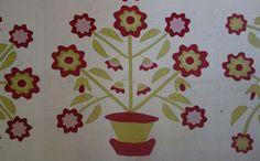 """Detail, Applique Quilt--Flower Pots Elaborate! 1800's, 72"""" x 100"""", Cow Hollow Collectibles, Ruby Lane"""