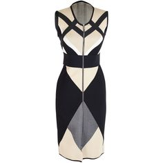 Octavio Pizarro Geometric Tri-Colored Dress (£235) ❤ liked on Polyvore featuring dresses, vestidos, colorblock bandage dress, color block dress, zipper dress, long dresses and geometric dress
