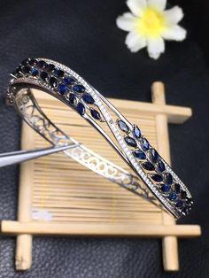 diamond bangle bracelets which look classy. Sapphire Bracelet, Diamond Bracelets, Gemstone Bracelets, Gold Bangles, Sterling Silver Bracelets, Jewelry Bracelets, Silver Jewelry, Diamond Jewelry, Sapphire Diamond