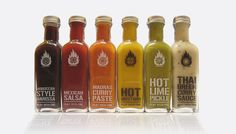 Hot sauces :: Packaging for a range of gourmet sauces Jar Design, Bottle Design, Hank Sauce, Picante Recipe, Brand Packaging, Packaging Design, Habanero Sauce, Mustard Pickles, Hot Sauce Recipes