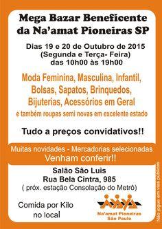 A Na´amat Pioneiras São Paulo promove, nos dias 19 e 20 de outubro, das 10 às 19h, no Salão São Luis (Rua Bela Cintra, 985- Jardins), mais uma edição do seu Bazar Beneficente. O evento vai reunir expositores das áreas de moda feminina, masculina e infantil, bolsas, sapatos, brinquedos bijuterias e acessórios. O Bazar também…