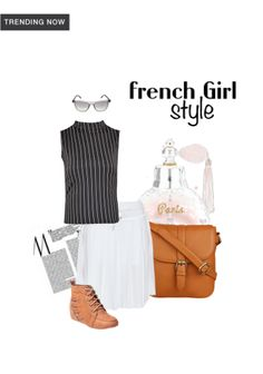 'French Girl Style' by me on Limeroad featuring Stripes Black Tops with White Skirts