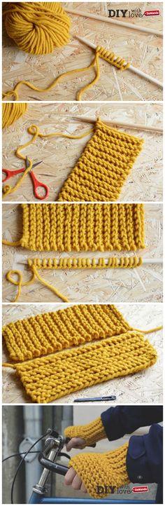 Adori i lavori a maglia XL? Allora ti innamorerai di questi guanti senza dita nel nostro tutorial #diy #knit!